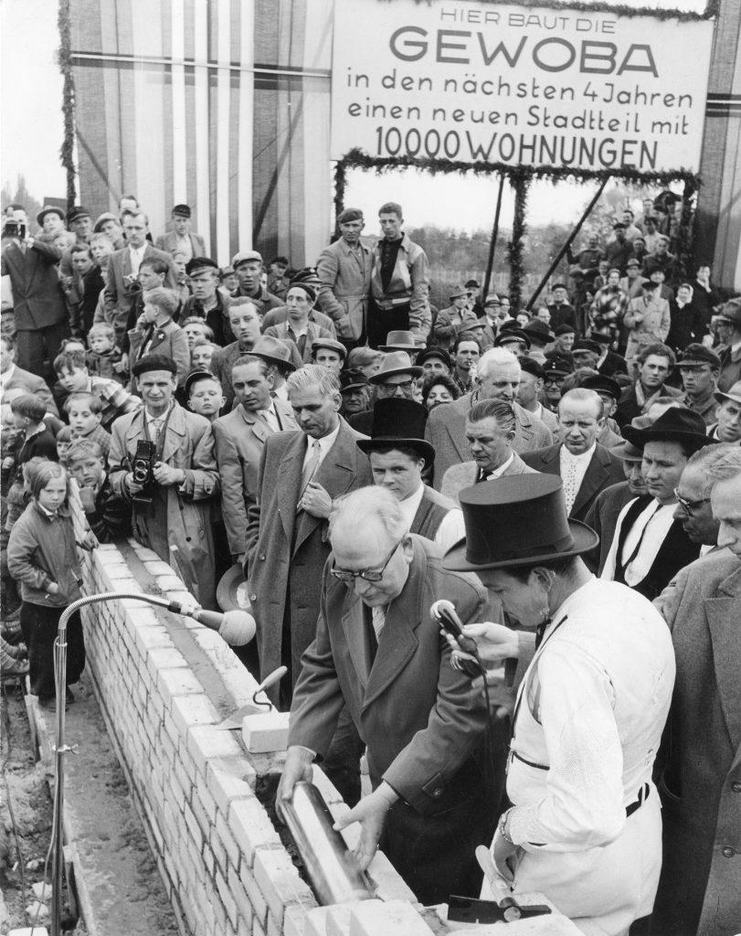 Grundsteinlegung für die Neue Vahr, 1957, Foto von Leonhard Kull