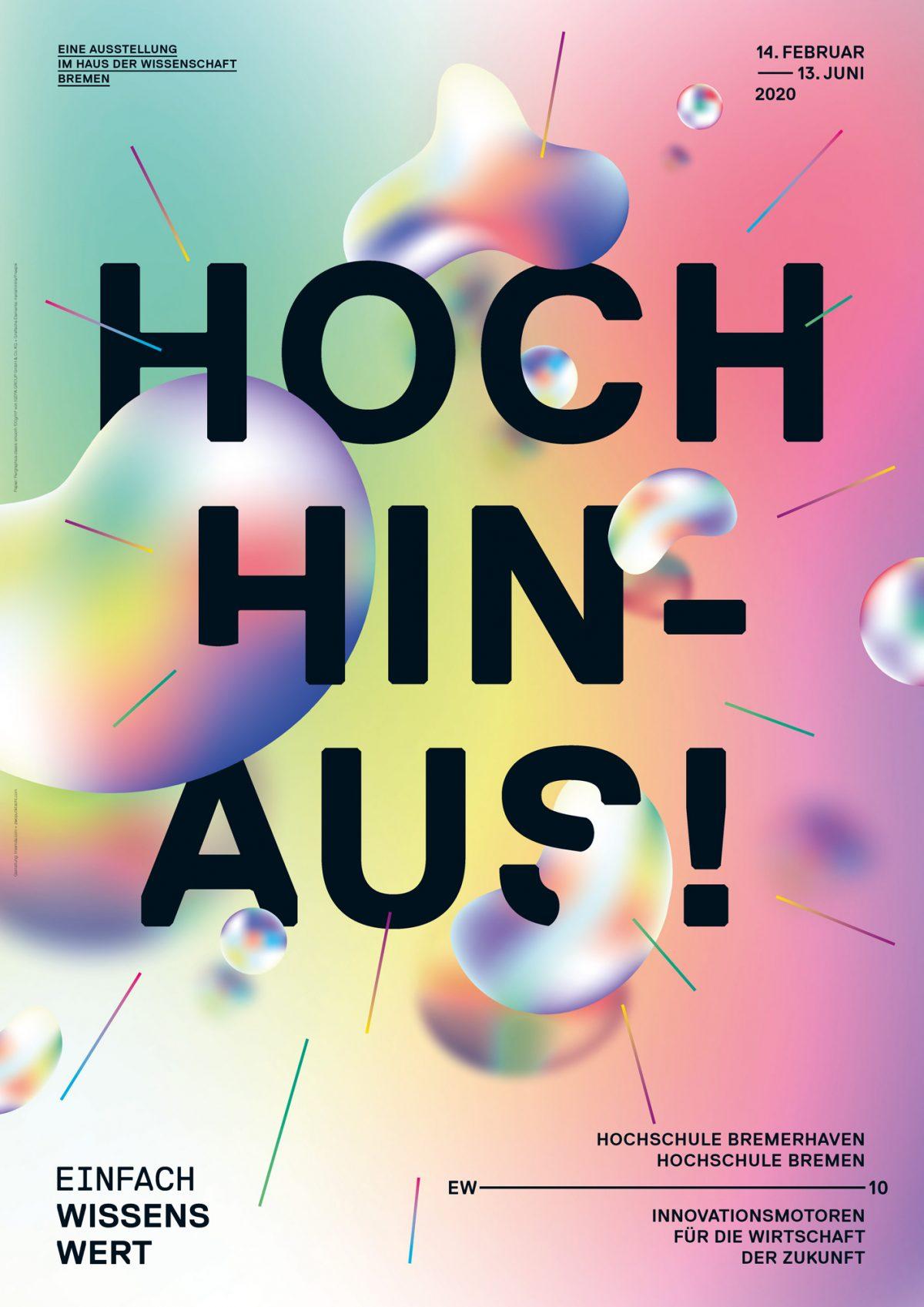 Plakat EINFACH WISSENSWERT HOCH HINAUS von Zwo.Acht