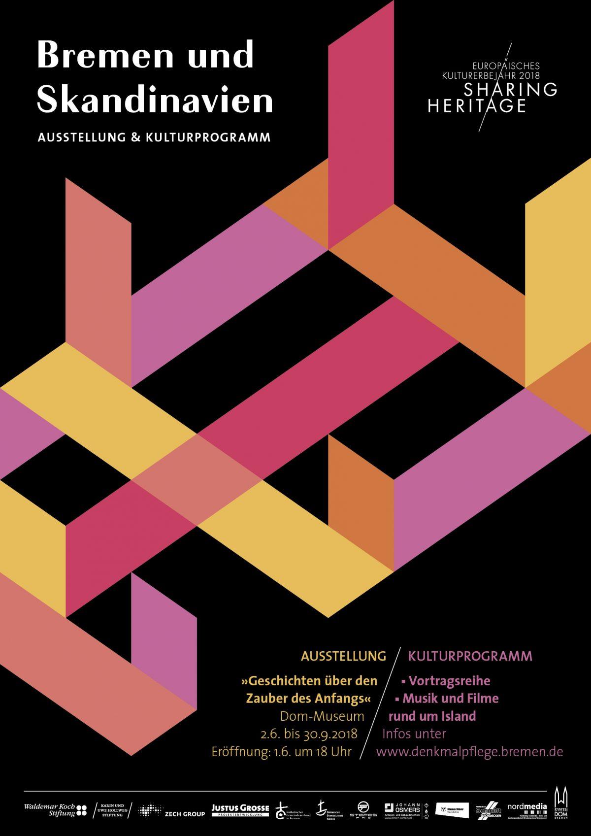 Plakat zur Ausstellung Bremen und Skandinavien von Christine Klein 2018